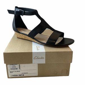 CLARK'S Abigail Lily Black Wedge Sandal 8.5/9 NWT